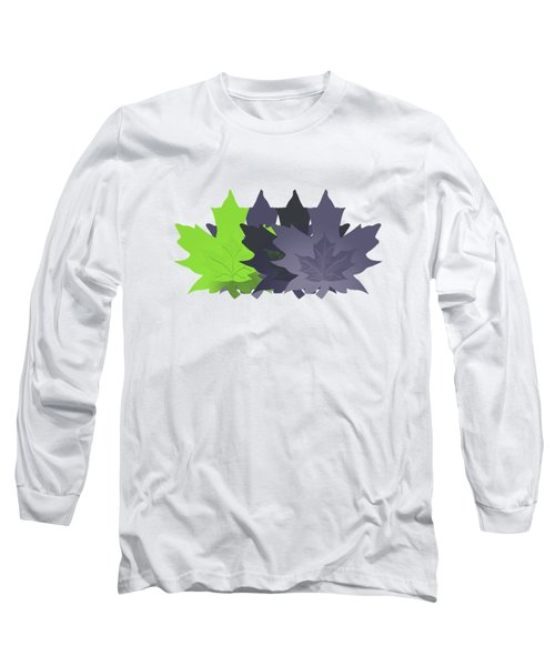 Purple And Green Leaves Long Sleeve T-Shirt by Methune Hively