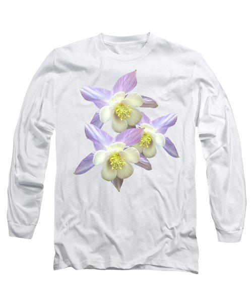 Long Sleeve T-Shirt featuring the photograph Purple Aquilegia by Gill Billington