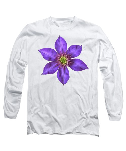 Purple Clematis Flower With Soft Look Effect Long Sleeve T-Shirt by Rose Santuci-Sofranko