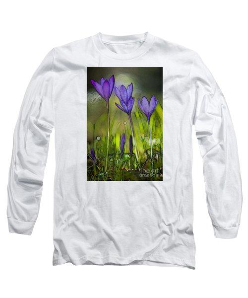 Long Sleeve T-Shirt featuring the photograph Purple Crocus Flowers by Jean Bernard Roussilhe