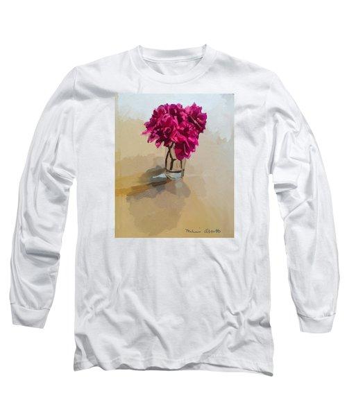 Purple Dahlias Long Sleeve T-Shirt by Melissa Abbott
