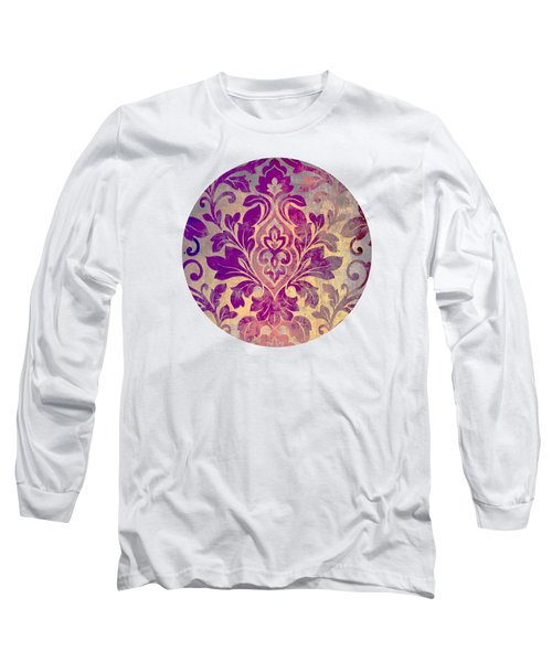 Purple Damask Pattern Long Sleeve T-Shirt