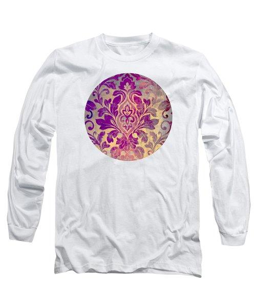 Purple Damask Pattern Long Sleeve T-Shirt