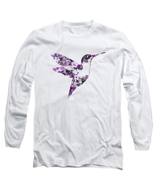 Purple Floral Hummingbird Art Long Sleeve T-Shirt