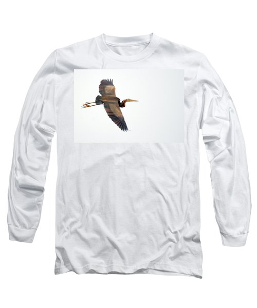Purple Heron In Flight Long Sleeve T-Shirt