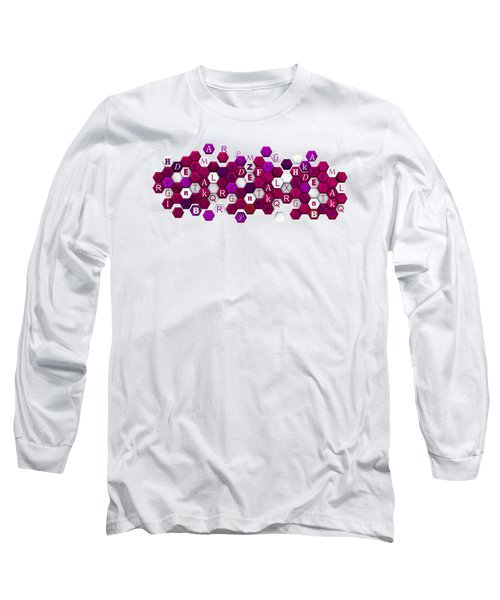 Purple Hexagons With Letters. Long Sleeve T-Shirt