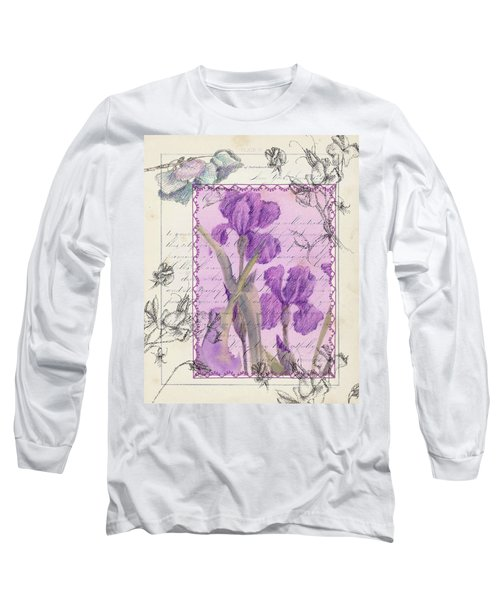 Long Sleeve T-Shirt featuring the drawing Purple Iris by Cathie Richardson