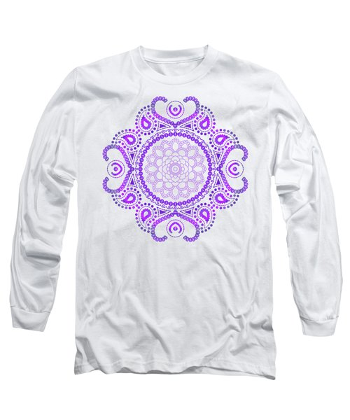 Purple Lotus Mandala Long Sleeve T-Shirt