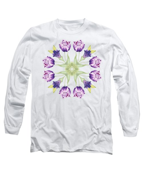 Purple Tulip Mandala Long Sleeve T-Shirt