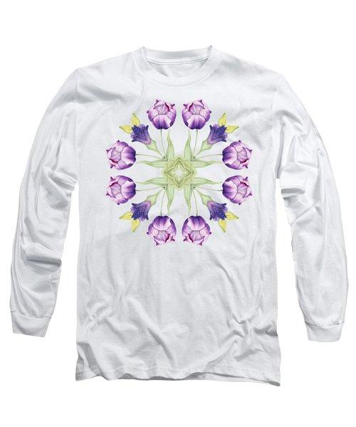 Purple Tulip Mandala Long Sleeve T-Shirt