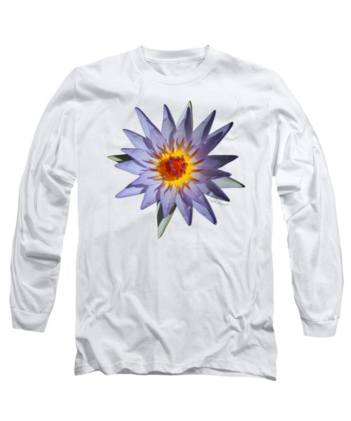 Purple Water Lily Transparent Long Sleeve T-Shirt