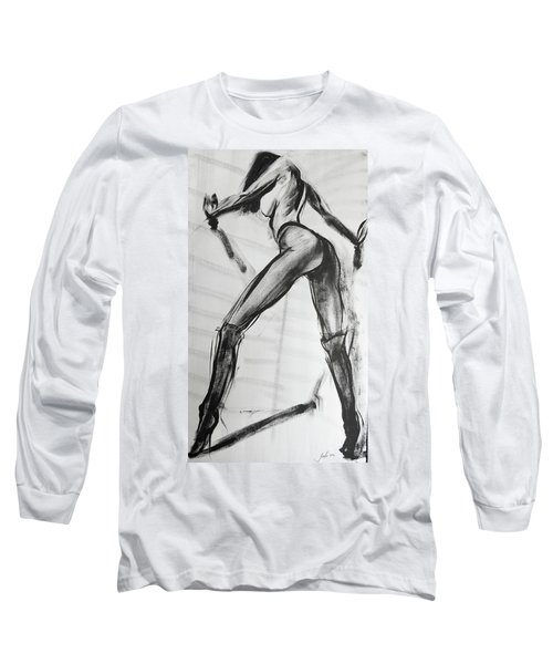Long Sleeve T-Shirt featuring the painting Puss In Boots by Jarko Aka Lui Grande
