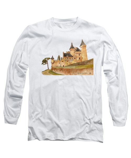 Puymartin Castle Long Sleeve T-Shirt by Angeles M Pomata
