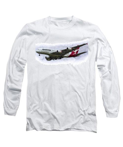 Qantas Airbus A380 Art Long Sleeve T-Shirt