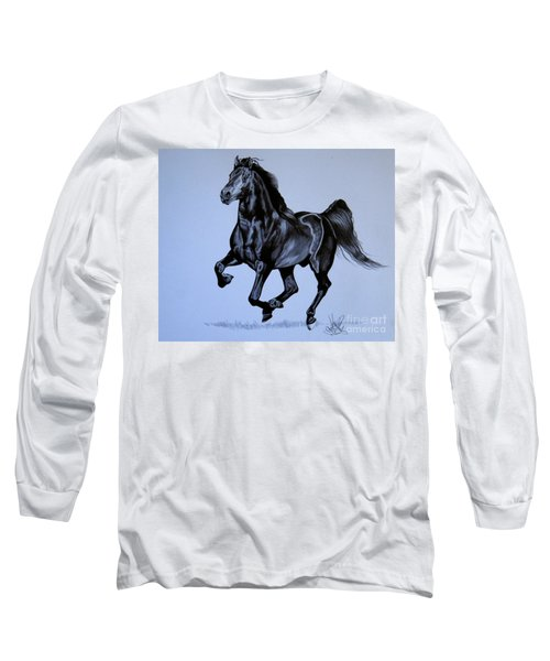 The Black Quarter Horse In Bic Pen Long Sleeve T-Shirt