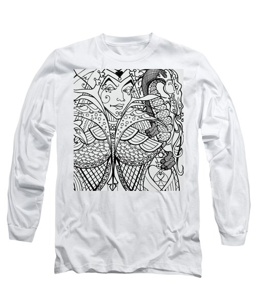 Queen Of Spades Close Up With Dragon Long Sleeve T-Shirt by Jani Freimann