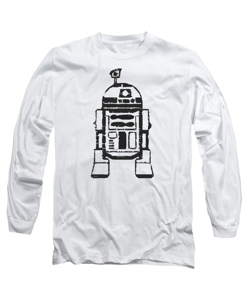 Long Sleeve T-Shirt featuring the drawing R2d2 Star Wars Robot by Edward Fielding