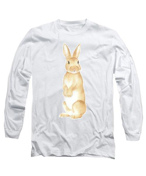 Long Sleeve T-Shirt featuring the painting Rabbit Watercolor by Taylan Apukovska