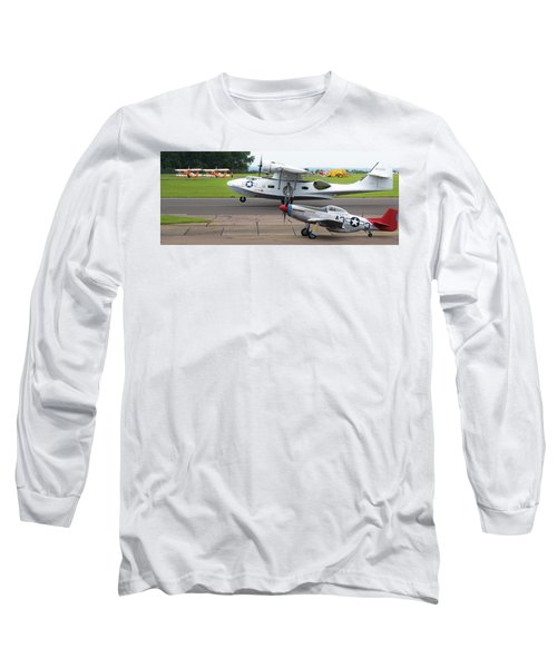 Raf Scampton 2017 - P-51 Mustang With Pby-5a Landing Long Sleeve T-Shirt