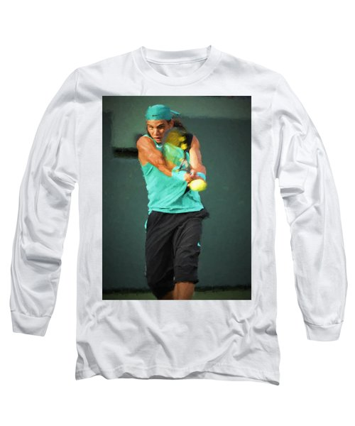 Long Sleeve T-Shirt featuring the painting Rafael Nadal by Lou Novick
