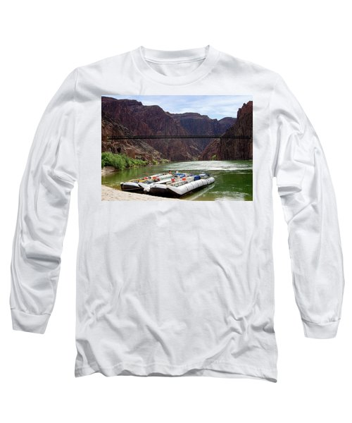 Rafts With Black Bridge In The Distance Long Sleeve T-Shirt