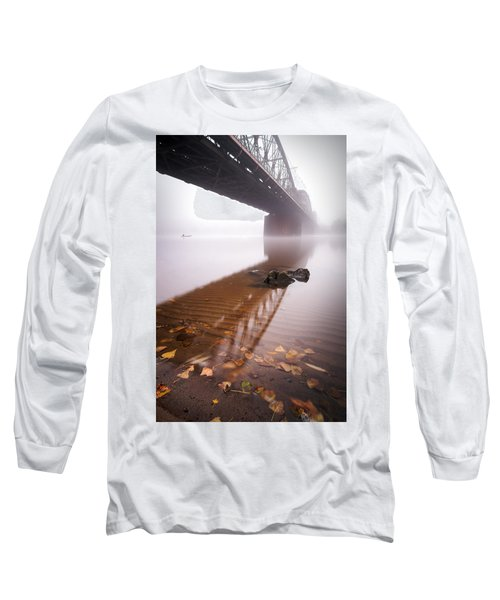 Railway Bridge During Foggy Morning In Prague, Czech Republic Long Sleeve T-Shirt