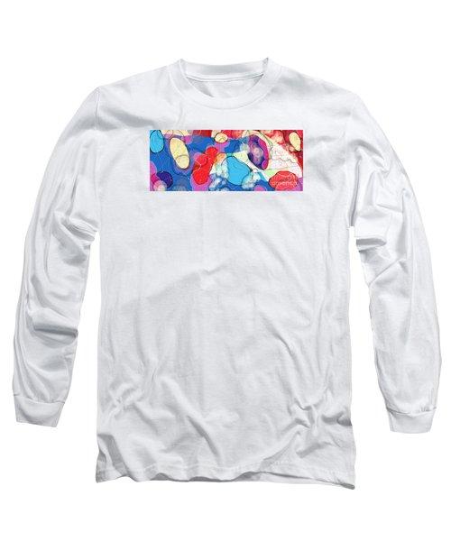 Rain On Stained Glass Window Long Sleeve T-Shirt by Gabrielle Schertz