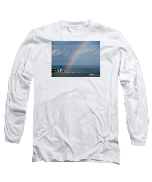 Rainbow At Lighthouse Long Sleeve T-Shirt