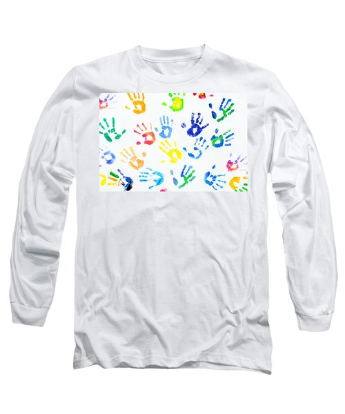 Long Sleeve T-Shirt featuring the photograph Rainbow Colors Arm Prints Abstract by Jenny Rainbow