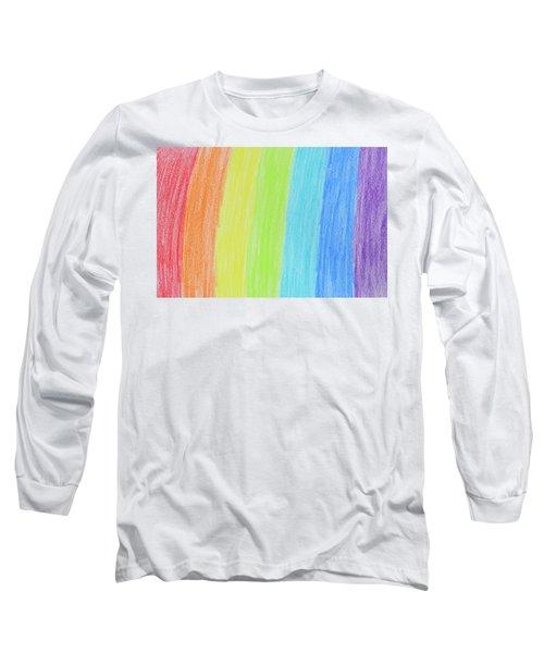 Rainbow Crayon Drawing Long Sleeve T-Shirt by GoodMood Art