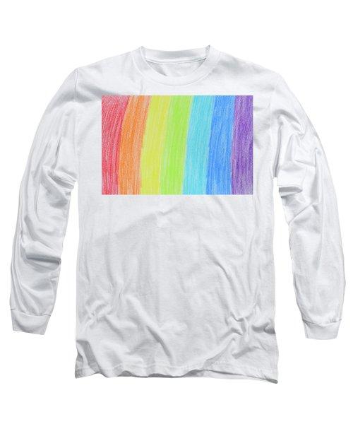 Rainbow Crayon Drawing Long Sleeve T-Shirt