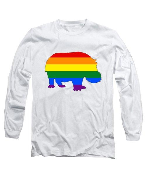 Rainbow Hippo Long Sleeve T-Shirt by Mordax Furittus