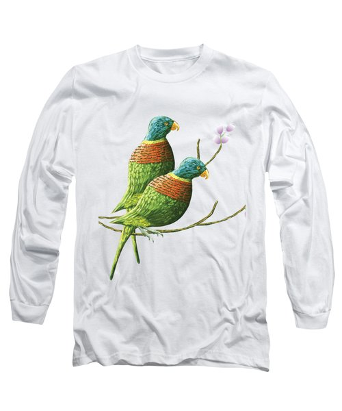 Rainbow Lorikeet Of Australia B Long Sleeve T-Shirt by Thecla Correya