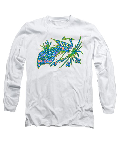 Rainbow Multicolored Peacock On A Branch Long Sleeve T-Shirt