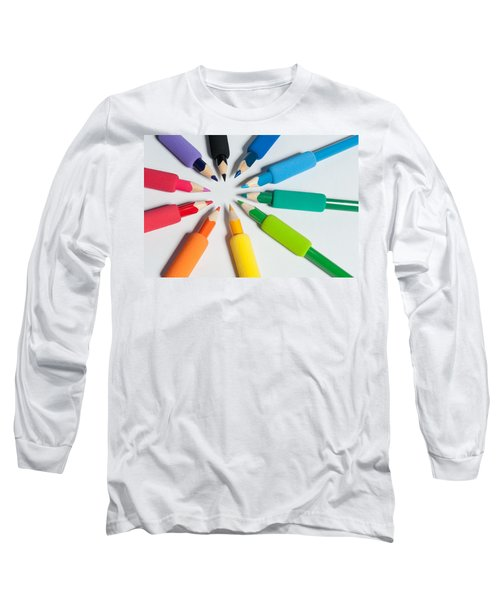 Rainbow Of Crayons Long Sleeve T-Shirt
