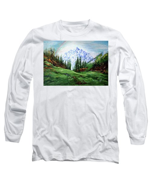 Rainbow Over The Snow Covered Mountain Long Sleeve T-Shirt
