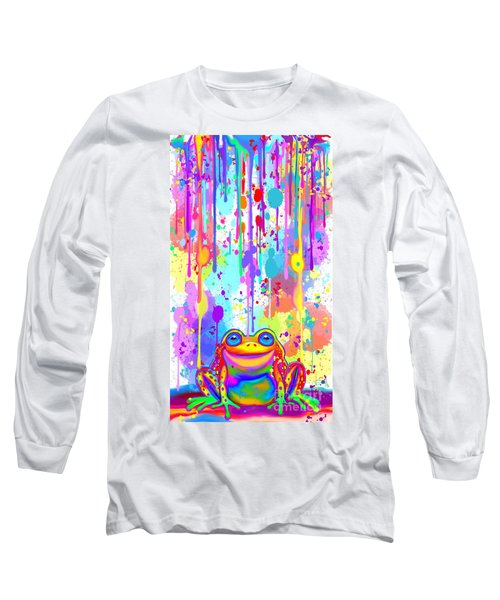Long Sleeve T-Shirt featuring the painting Rainbow Painted Frog  by Nick Gustafson