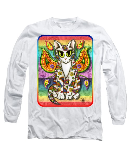 Long Sleeve T-Shirt featuring the mixed media Rainbow Paisley Fairy Cat by Carrie Hawks