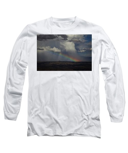 Rainbow Storm Over The Verde Valley Arizona Long Sleeve T-Shirt by Ron Chilston