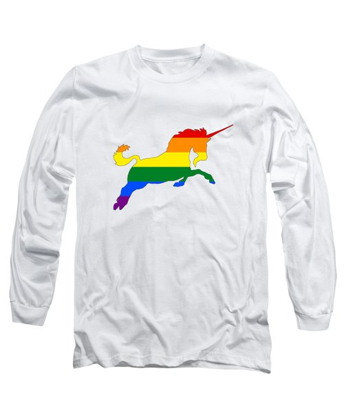 Rainbow Unicorn Long Sleeve T-Shirt by Mordax Furittus