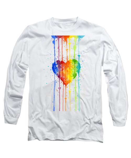 Rainbow Watercolor Heart Long Sleeve T-Shirt