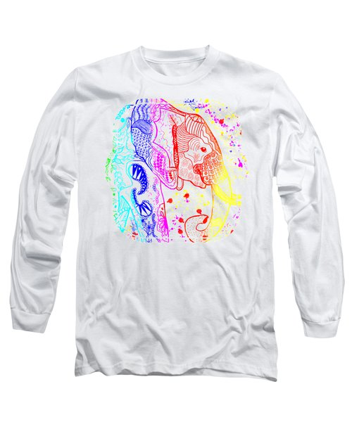 Rainbow Zentangle Elephant Long Sleeve T-Shirt by Becky Herrera