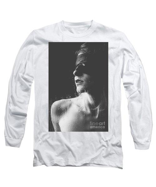 Raindrops - Blindfolded Beautiful Woman Behind A Window Long Sleeve T-Shirt