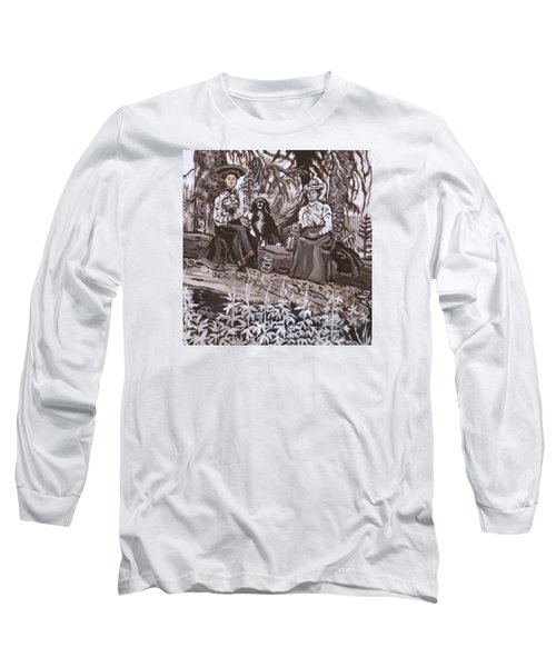 Long Sleeve T-Shirt featuring the painting Ranch Women Picking Berries Historical Vignette by Dawn Senior-Trask