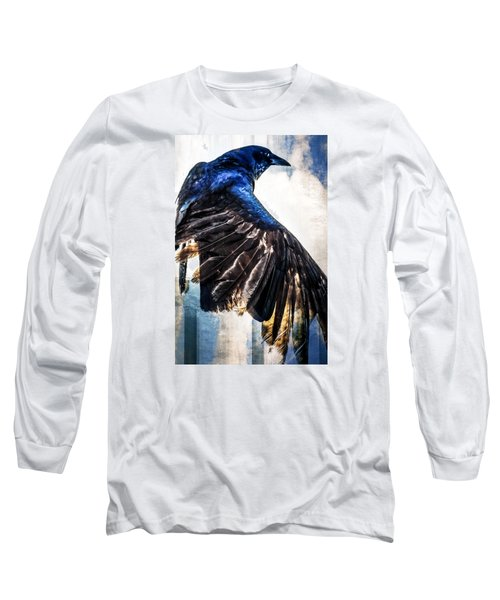 Long Sleeve T-Shirt featuring the photograph Raven Attitude by Carolyn Marshall