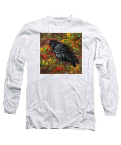 Raven In Autumn Long Sleeve T-Shirt by FT McKinstry