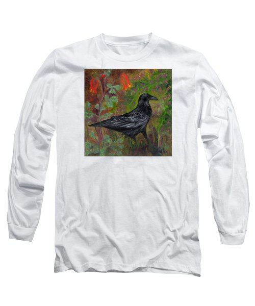 Raven In Columbine Long Sleeve T-Shirt by FT McKinstry