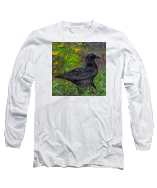 Raven In Goldenrod Long Sleeve T-Shirt by FT McKinstry