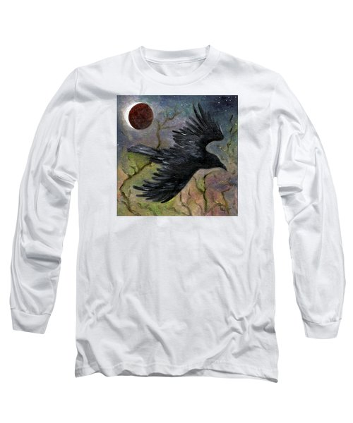 Raven In Twilight Long Sleeve T-Shirt by FT McKinstry