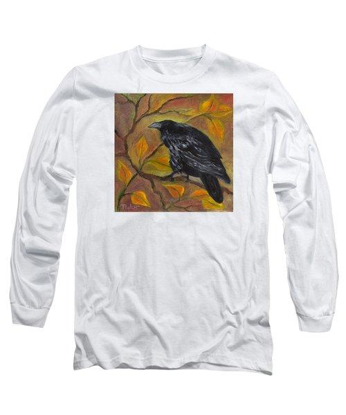 Raven On A Limb Long Sleeve T-Shirt by FT McKinstry